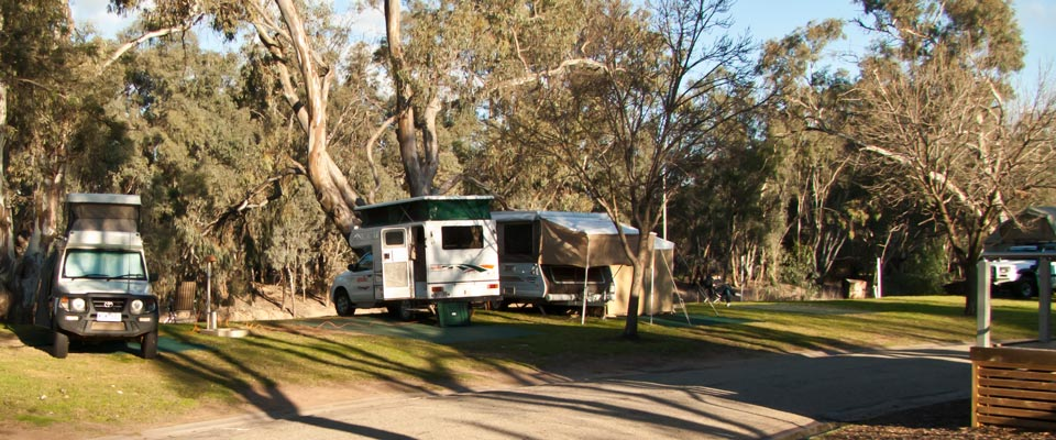 De eerste camping in Swan Hill aan de Murray River